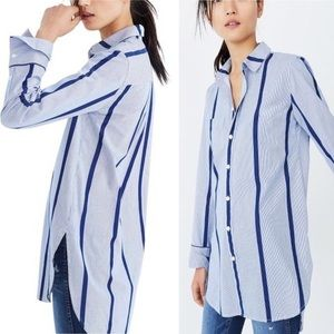 MADEWELL Blue Striped Button Down Tunic, L
